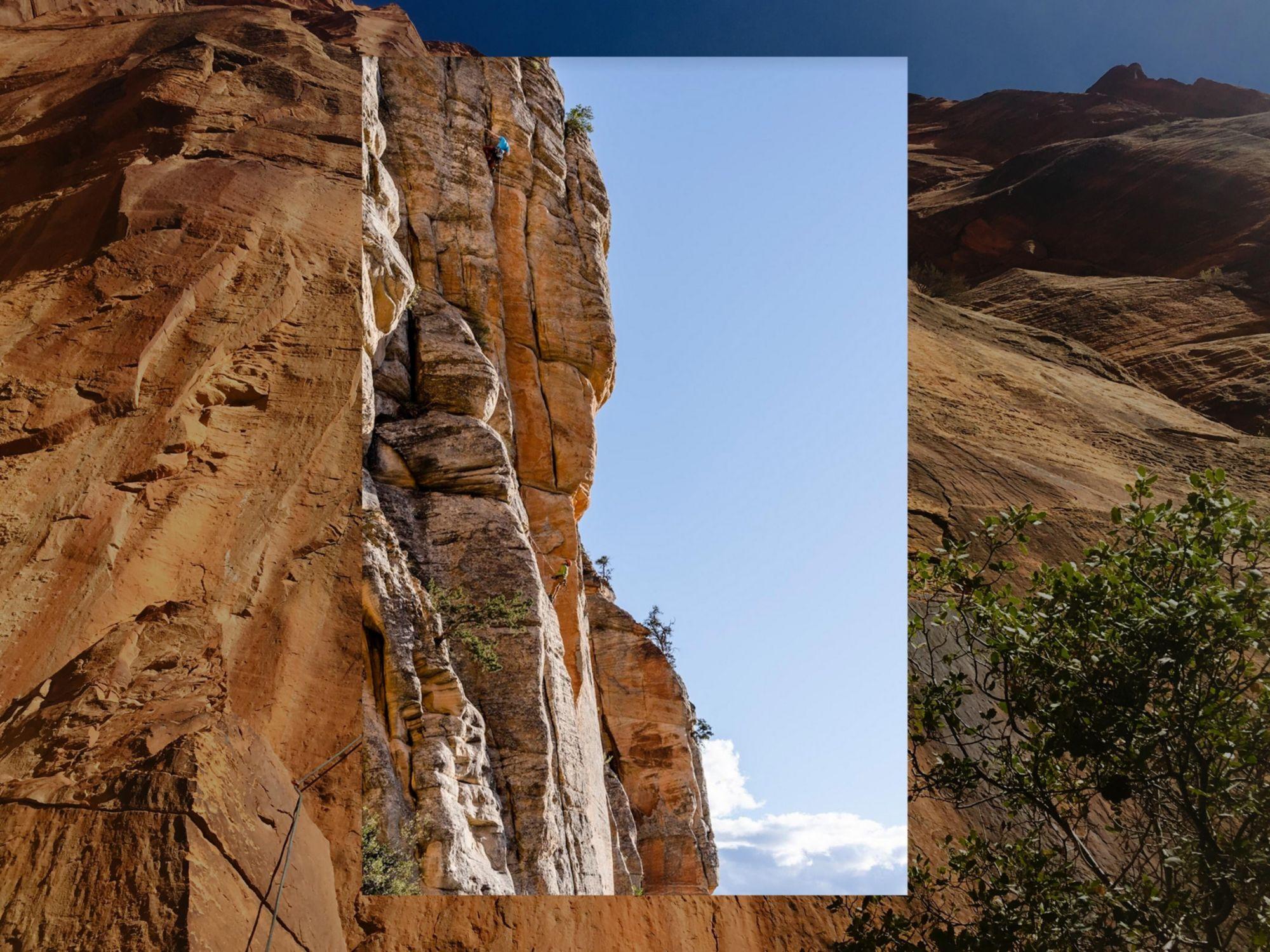 shot of rock climber